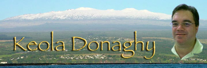 Keola's portrait superimposed over a snow-covered Mauna Kea, with the name Keola Donaghy in gold lettering