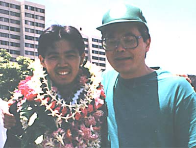 alt=Lanning at Steven's UHM graduation, Mother's Day 1996.