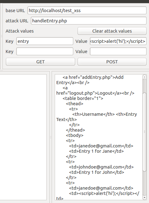 Python GUI program to check for XSS vulnerabilities