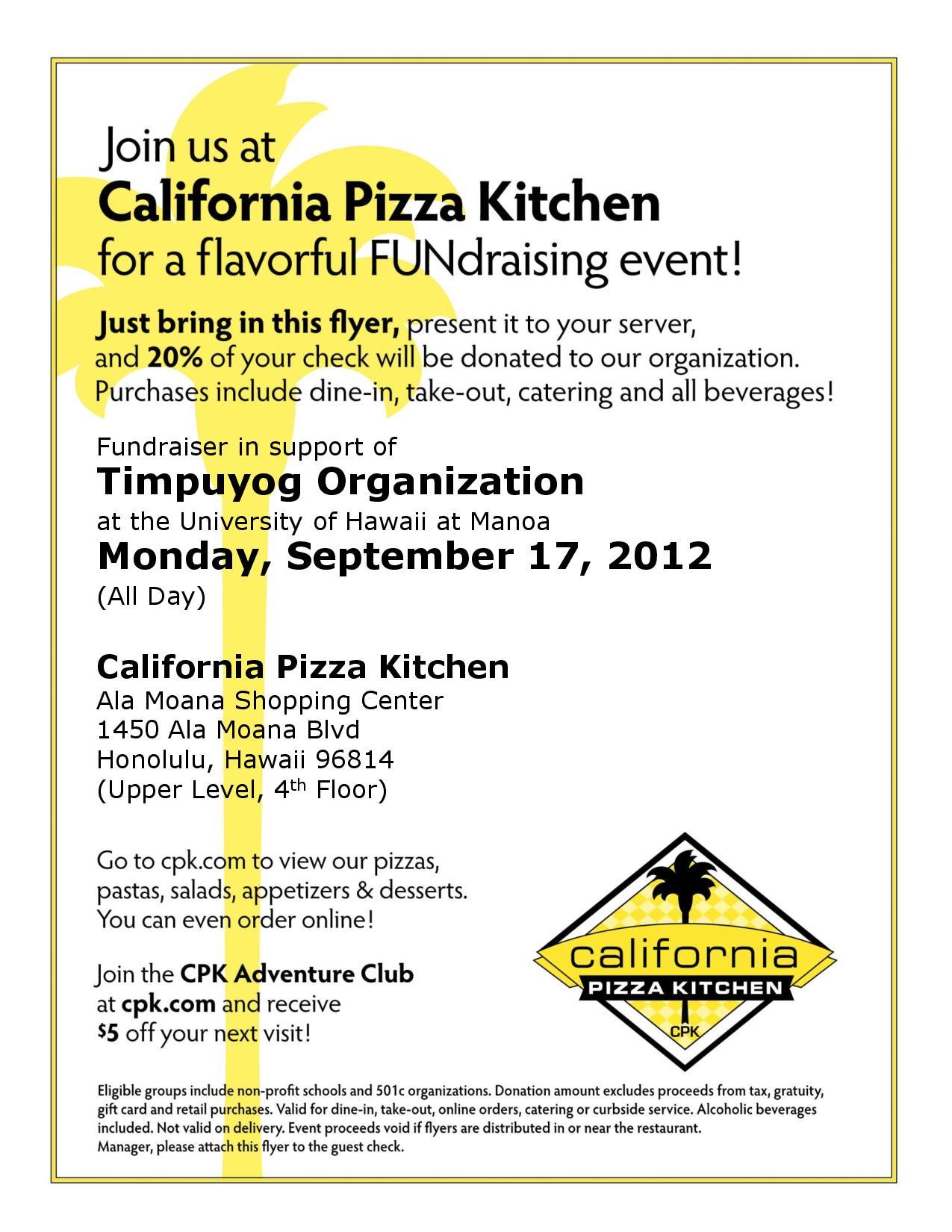 Donation Request California Pizza Kitchen
